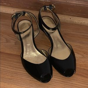 Coach Wedge Peep Toe SlingBack Black Shoes